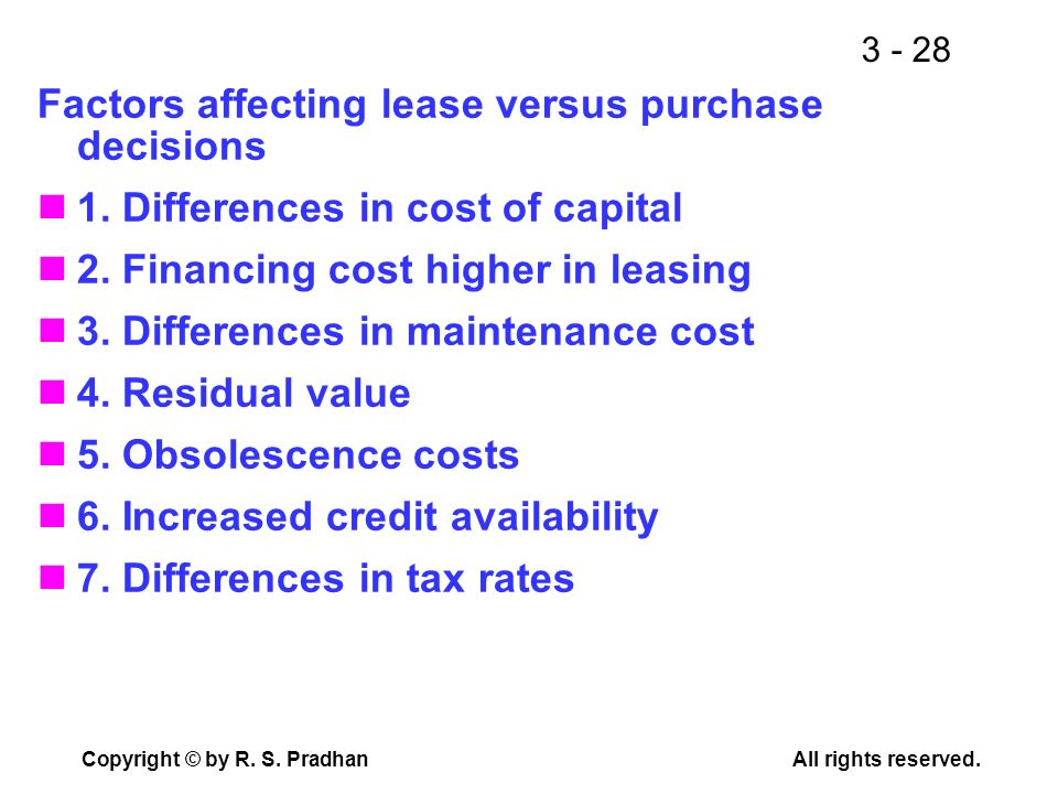 Factors affecting lease versus purchase decisions
