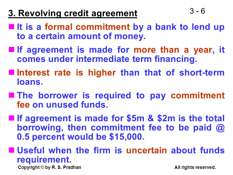 3. Revolving credit agreement