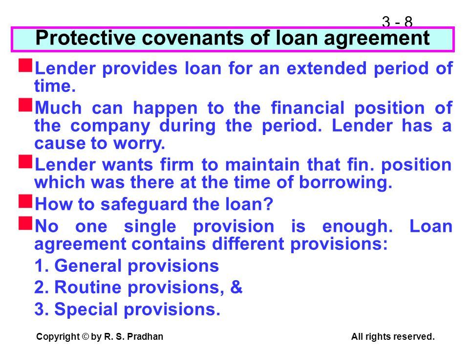 Protective covenants of loan agreement