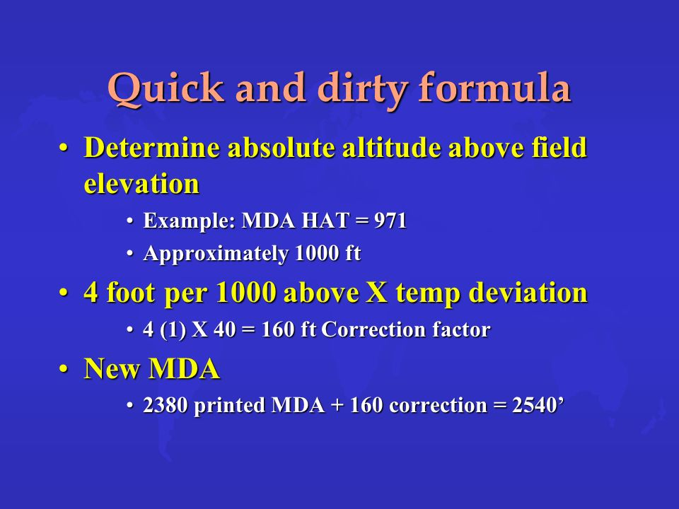 Quick and dirty formula