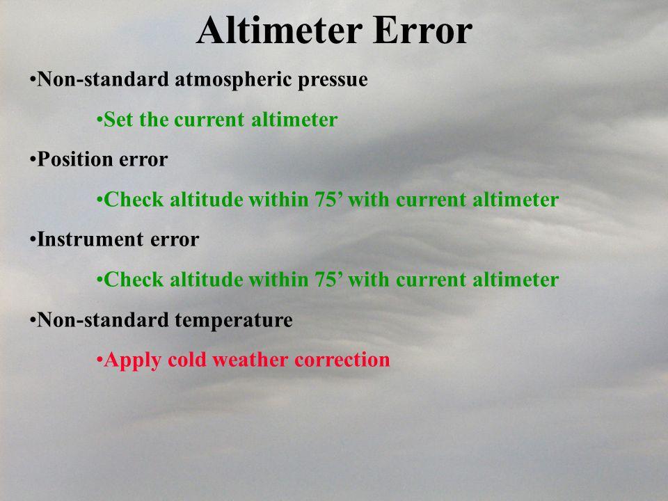 Altimeter Error Non-standard atmospheric pressue