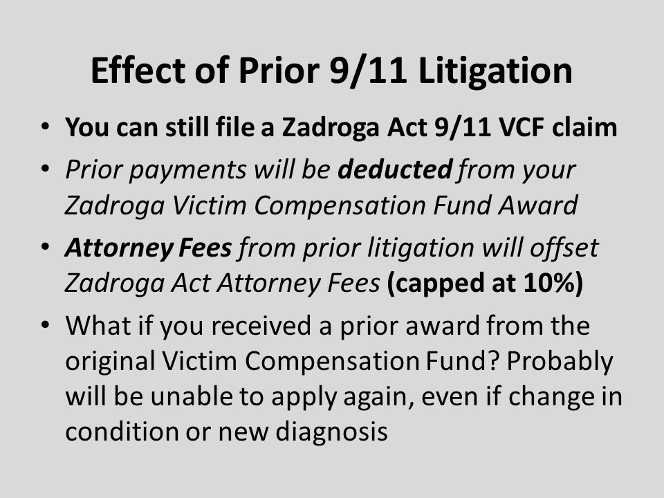 Effect of Prior 9/11 Litigation