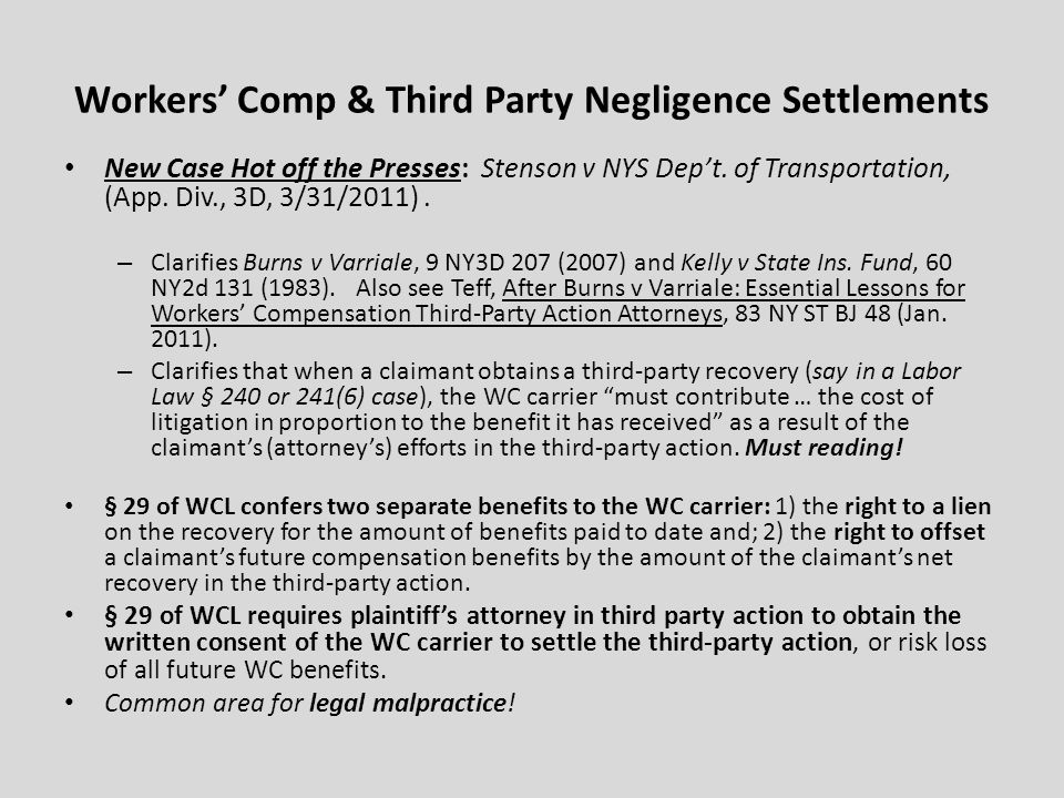 Workers' Comp & Third Party Negligence Settlements