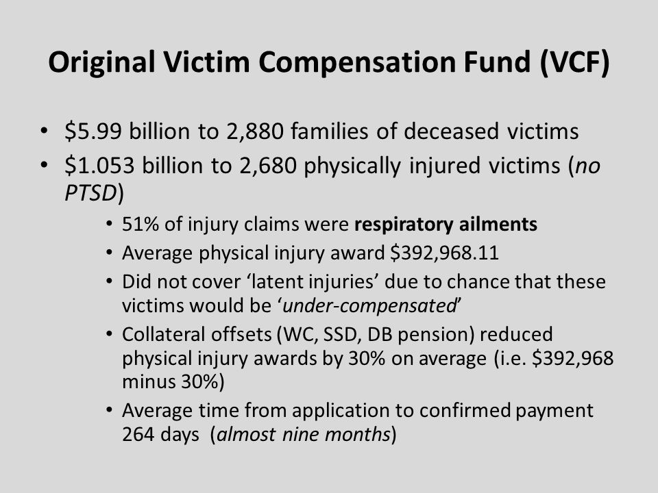 Original Victim Compensation Fund (VCF)