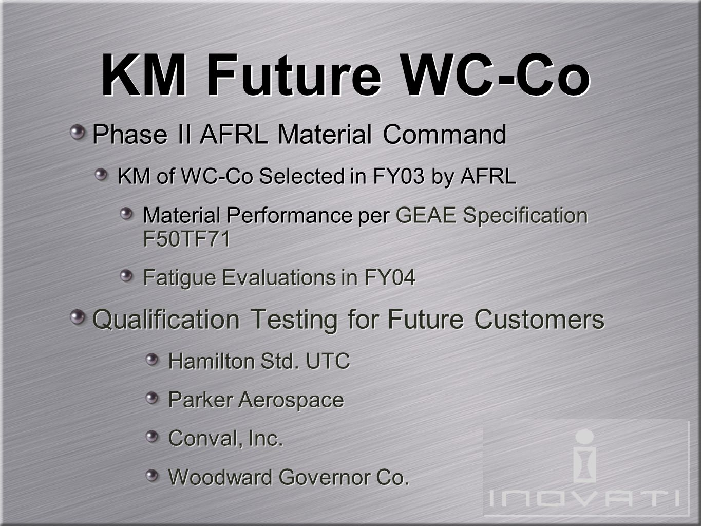 KM Future WC-Co Phase II AFRL Material Command