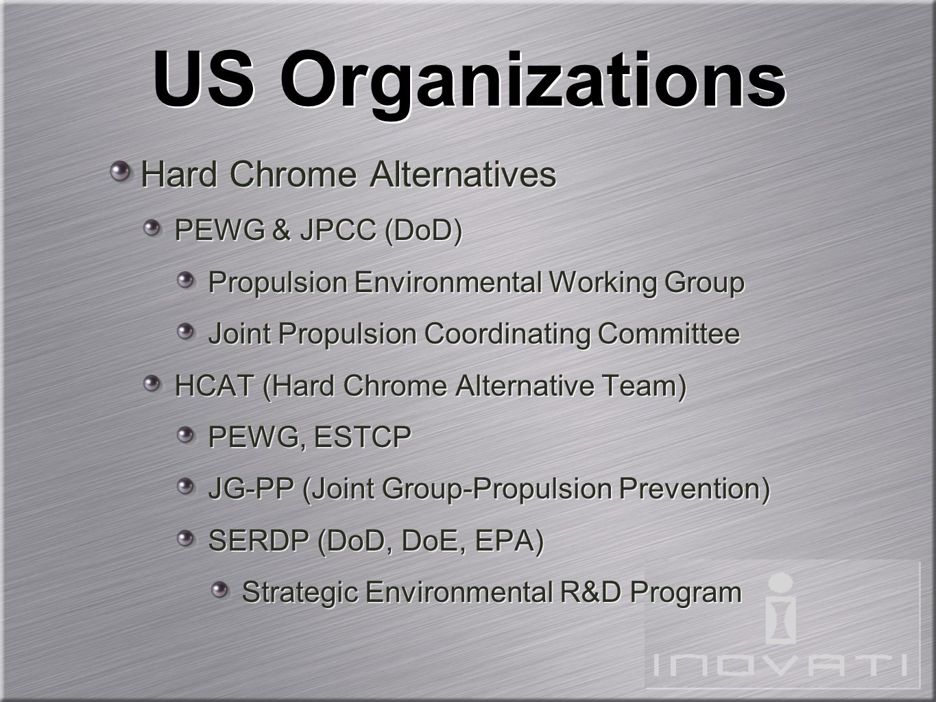 US Organizations Hard Chrome Alternatives PEWG & JPCC (DoD)