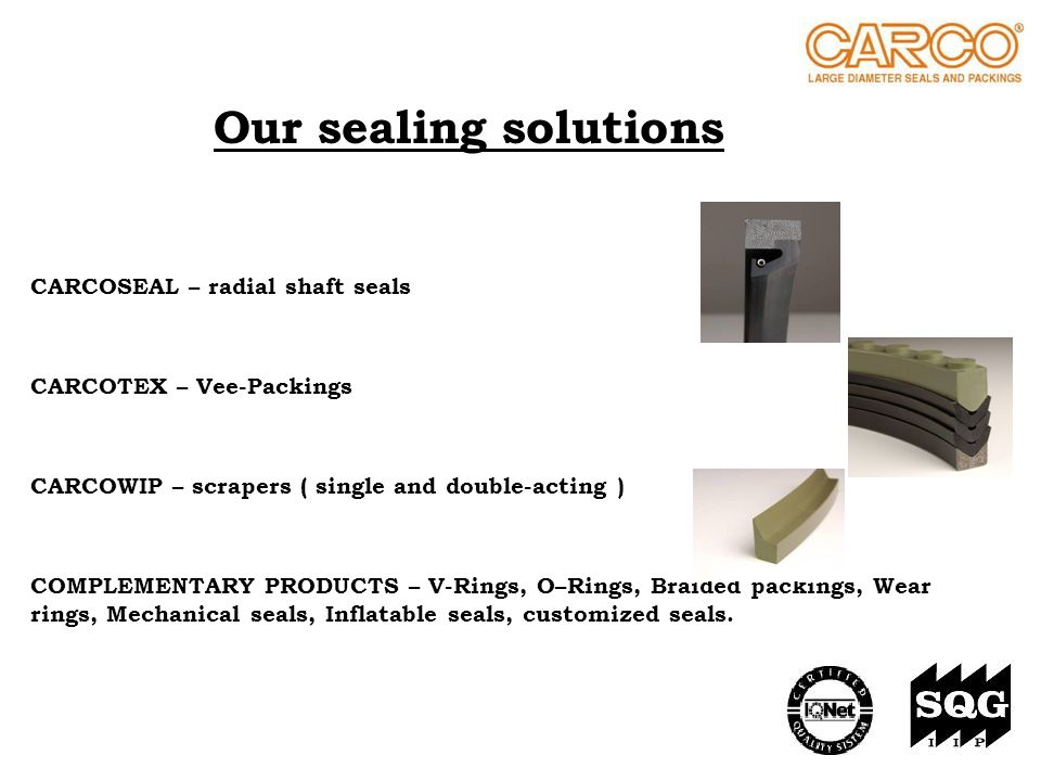 Our sealing solutions CARCOSEAL – radial shaft seals