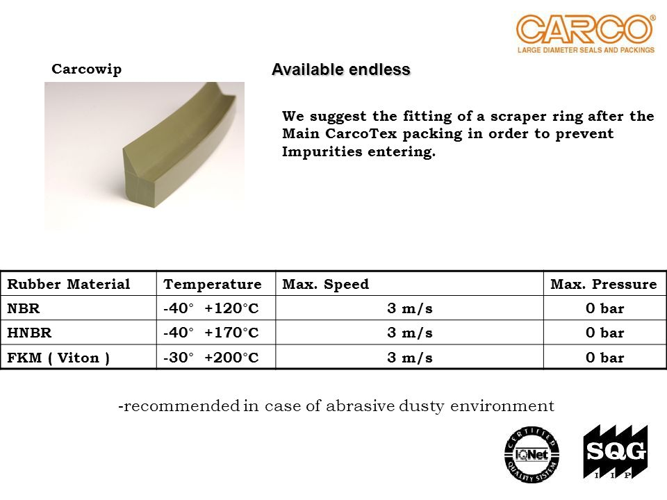 recommended in case of abrasive dusty environment