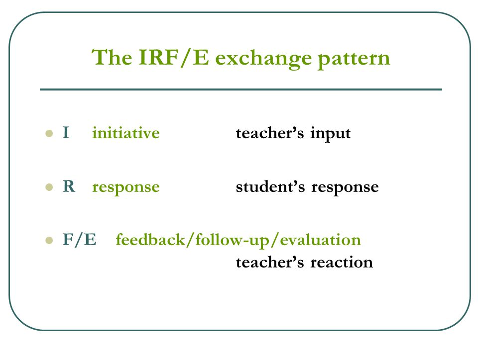 The IRF/E exchange pattern