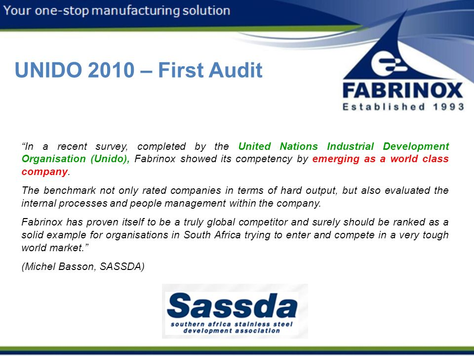 3/12/2013 UNIDO 2010 – First Audit.