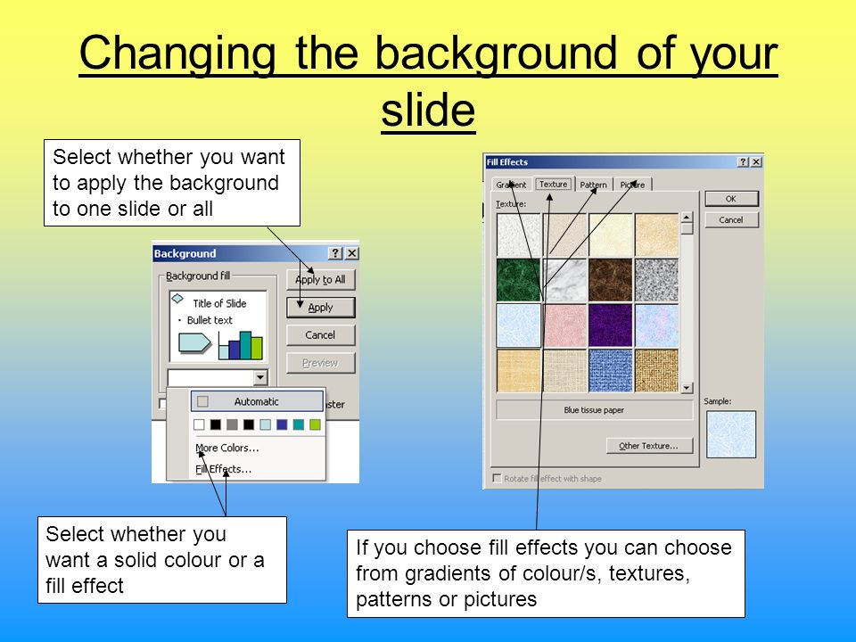 Changing the background of your slide
