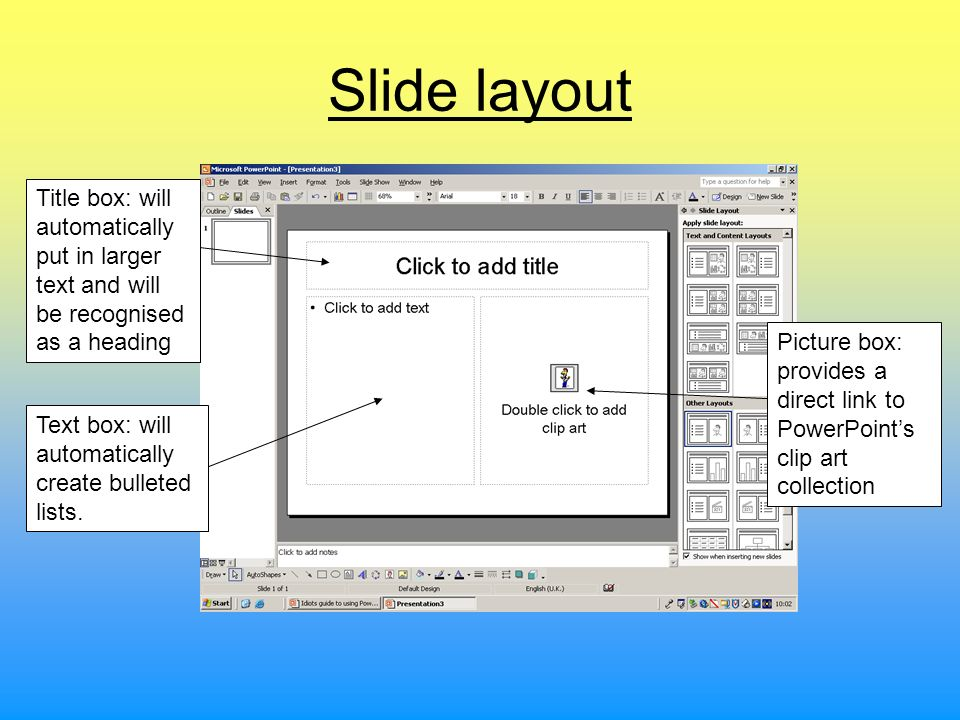 Slide layoutTitle box: will automatically put in larger text and will be recognised as a heading.