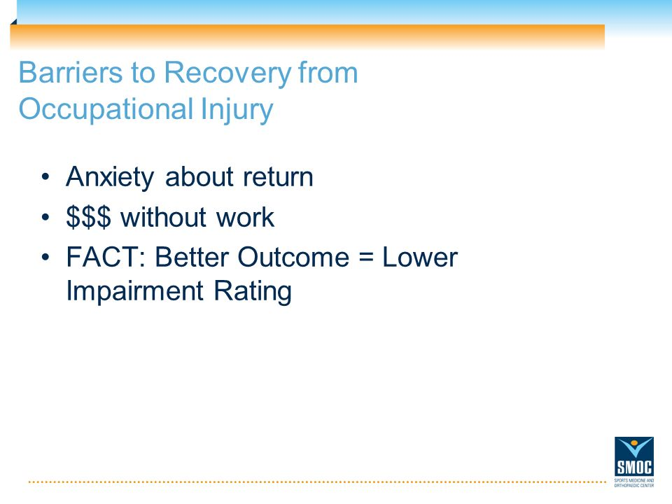 Barriers to Recovery from Occupational Injury