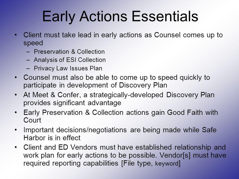 Early Actions Essentials