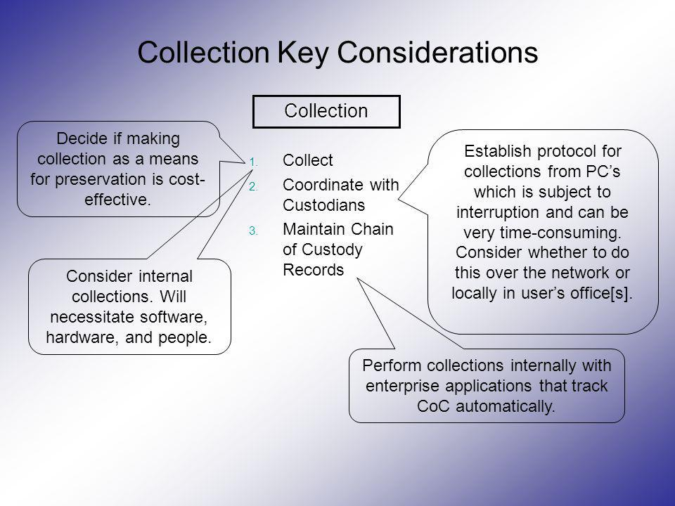 Collection Key Considerations