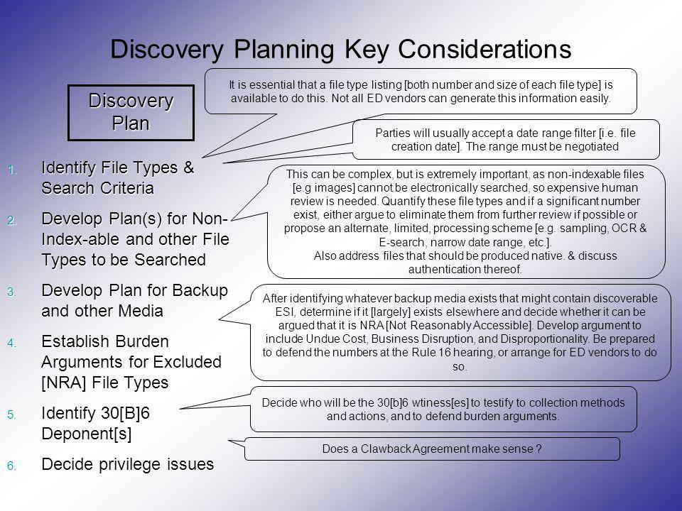 Discovery Planning Key Considerations