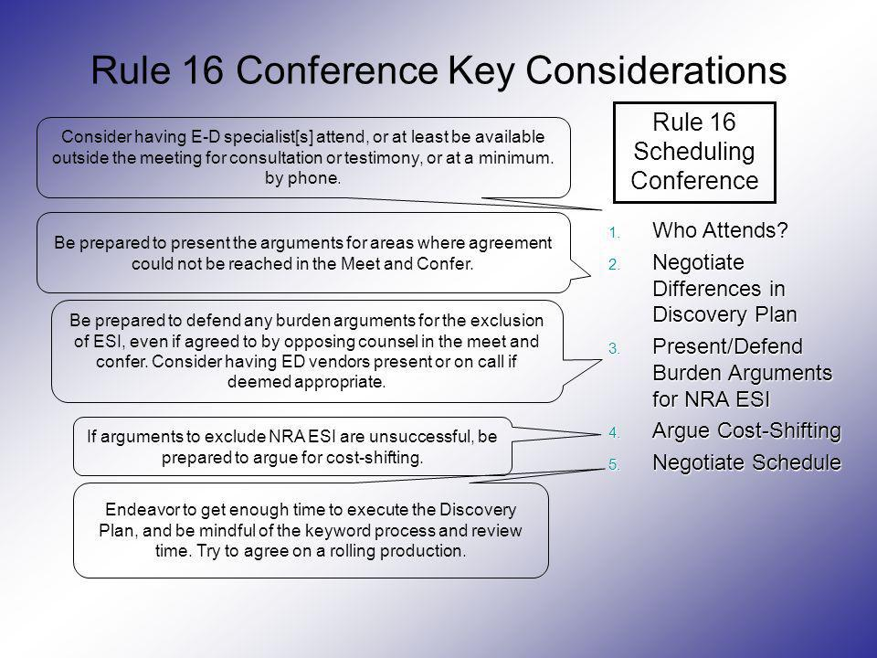 Rule 16 Conference Key Considerations