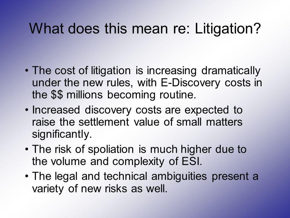 What does this mean re: Litigation