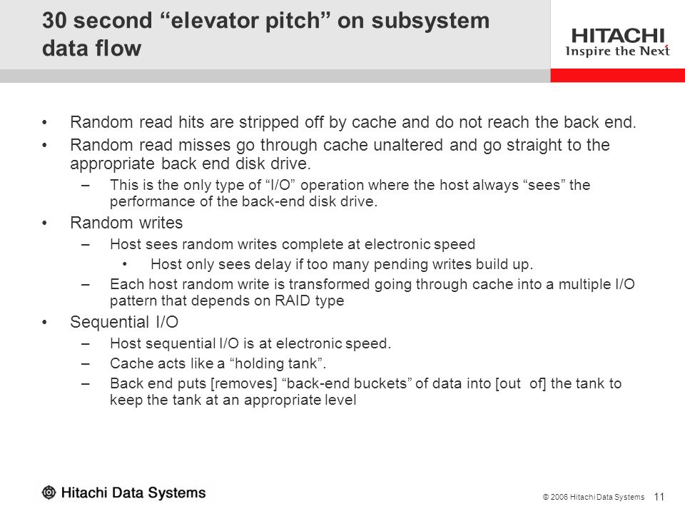 30 second elevator pitch on subsystem data flow