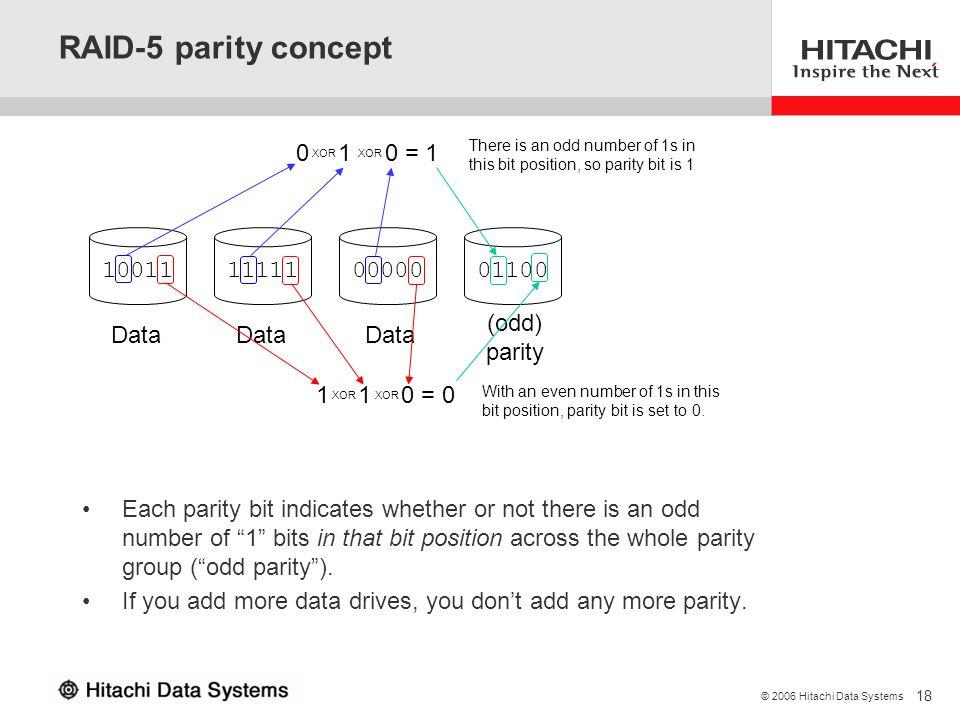 RAID-5 parity concept 0 XOR 1 XOR 0 = 1 10011 11111 00000 01100