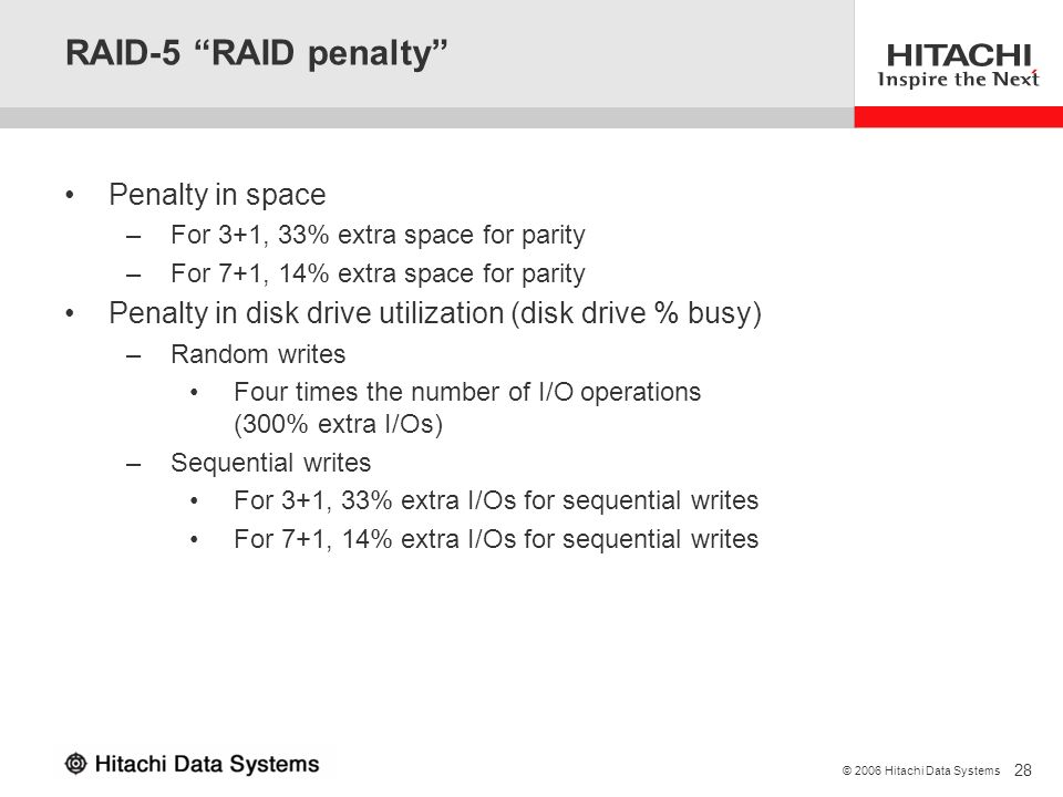 RAID-5 RAID penalty Penalty in space