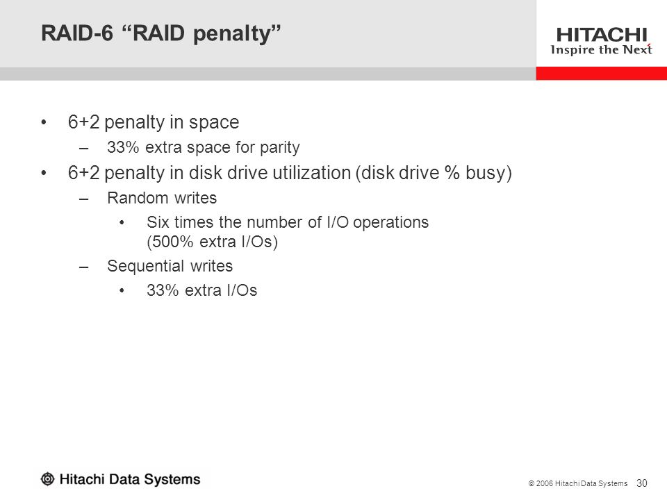 RAID-6 RAID penalty 6+2 penalty in space