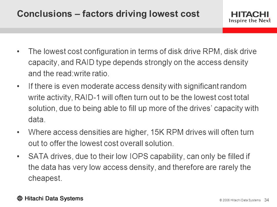 Conclusions – factors driving lowest cost