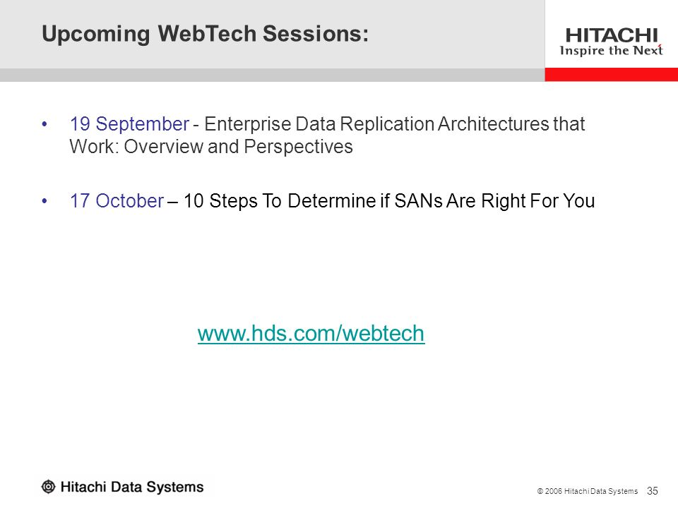 Upcoming WebTech Sessions:
