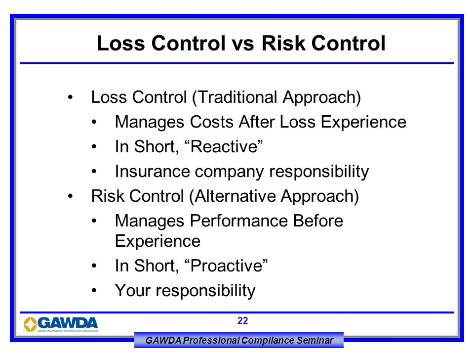 Loss Control vs Risk Control