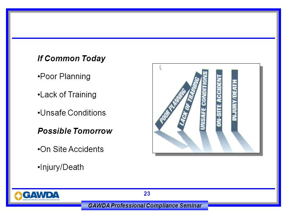 If Common Today Poor Planning. Lack of Training. Unsafe Conditions. Possible Tomorrow. On Site Accidents.