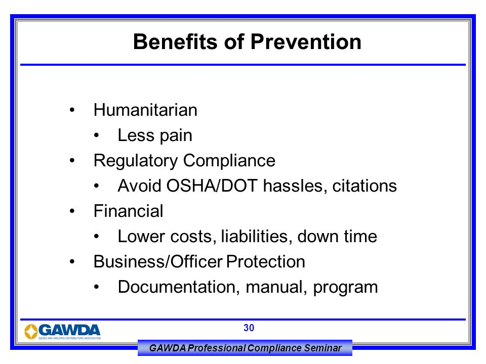 Benefits of Prevention