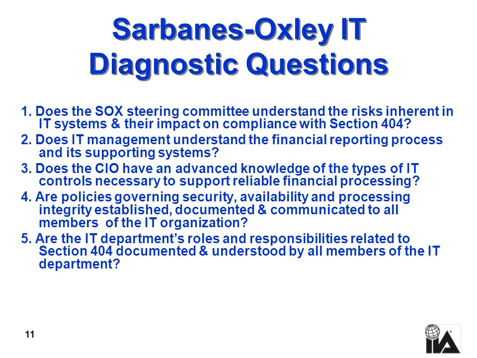 Sarbanes-Oxley IT Diagnostic Questions