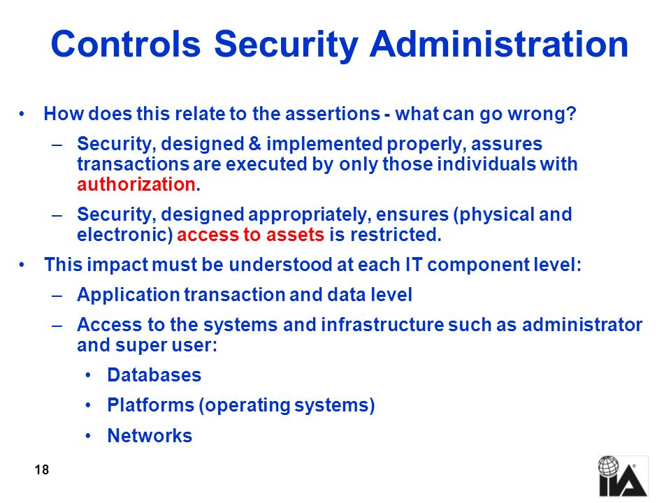 Controls Security Administration