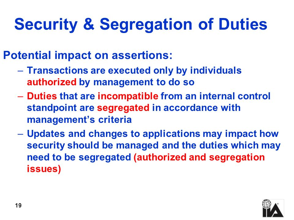 Security & Segregation of Duties