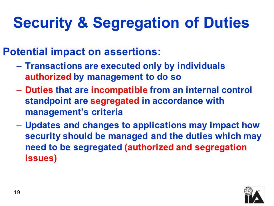 Security & Segregation of Duties