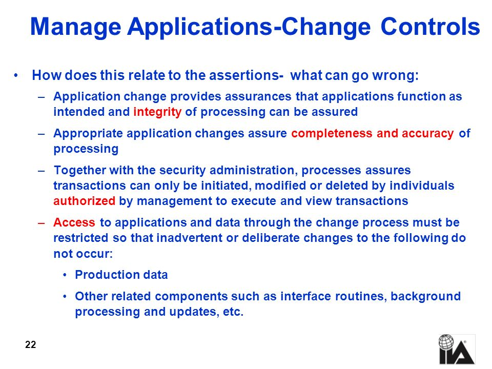 Manage Applications-Change Controls