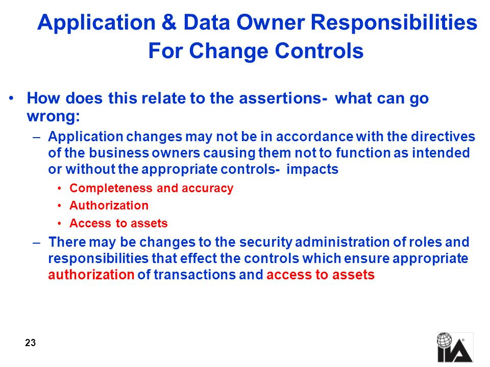 Application & Data Owner Responsibilities For Change Controls