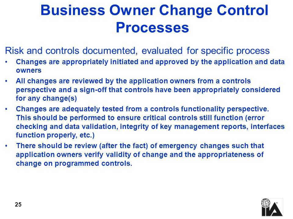 Business Owner Change Control Processes