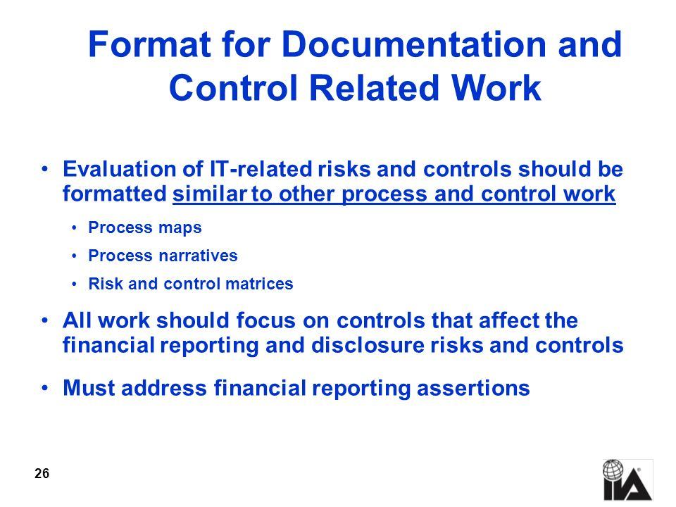 Format for Documentation and Control Related Work