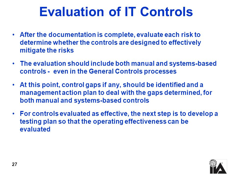 Evaluation of IT Controls