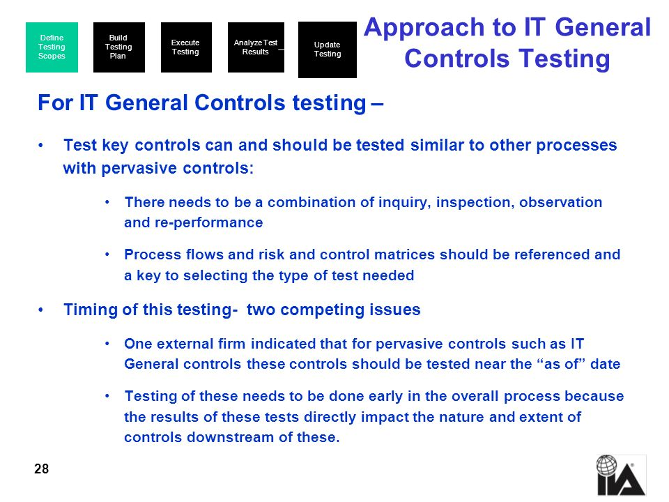 Approach to IT General Controls Testing