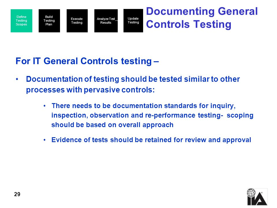 Documenting General Controls Testing