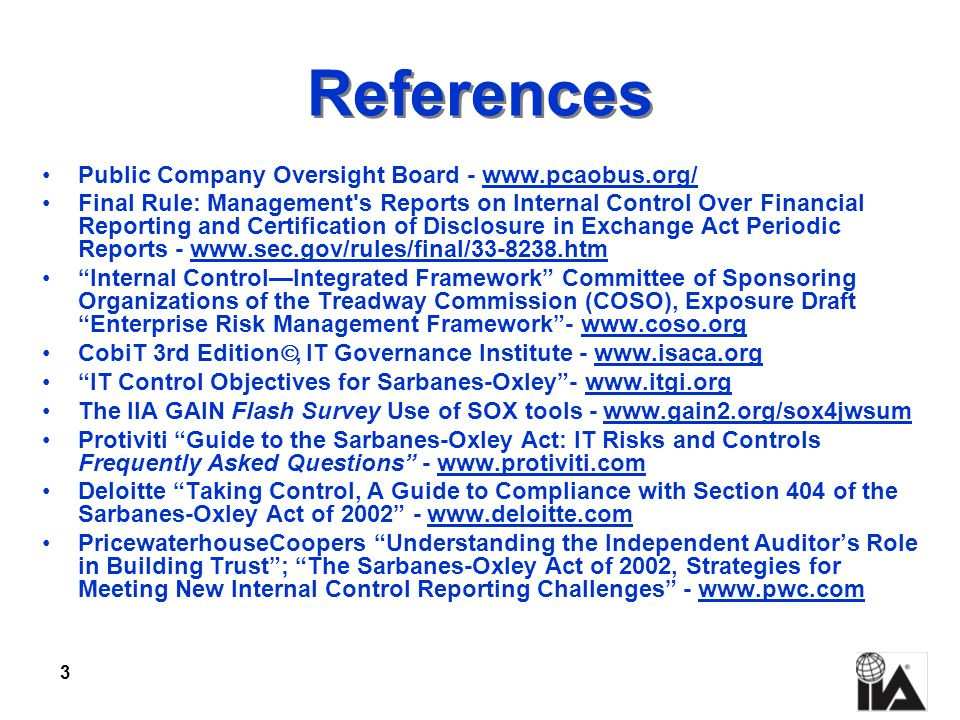 References Public Company Oversight Board - www.pcaobus.org/