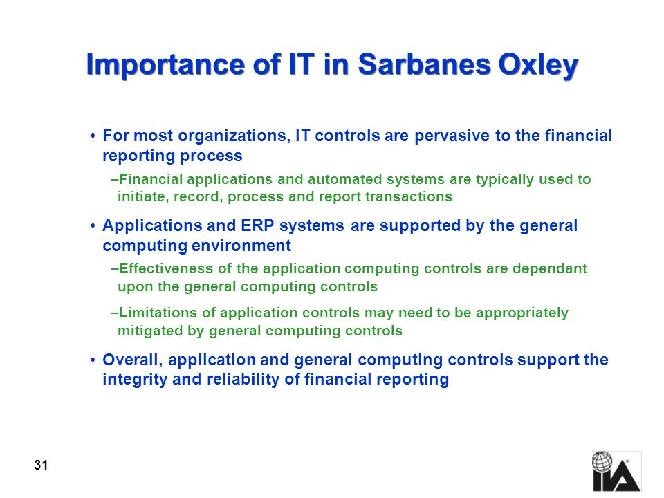Importance of IT in Sarbanes Oxley