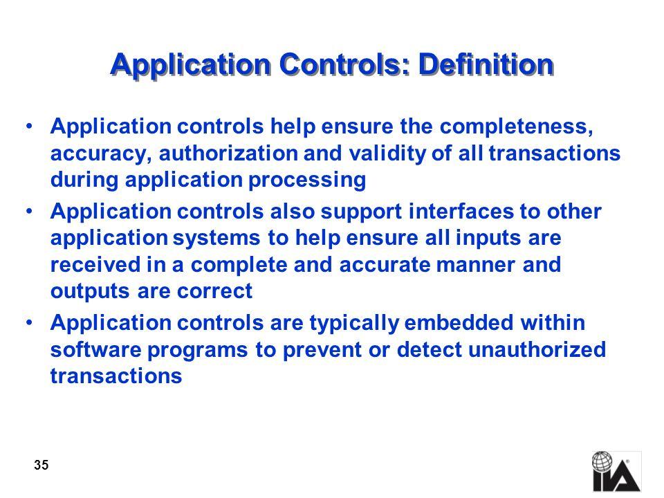 Application Controls: Definition