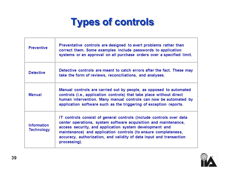 Types of controls Preventive.