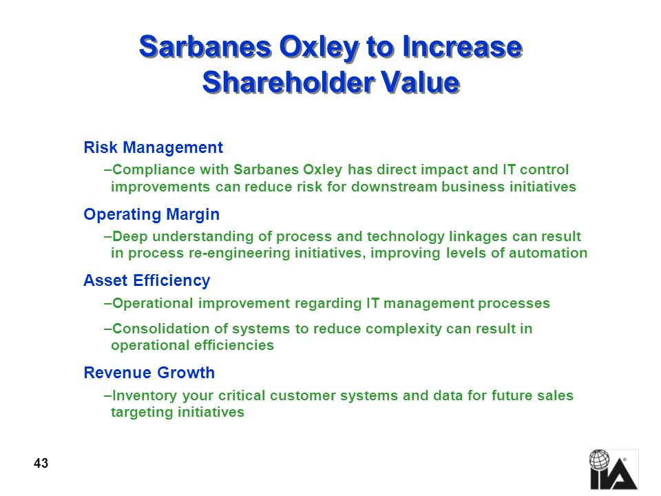 Sarbanes Oxley to Increase Shareholder Value
