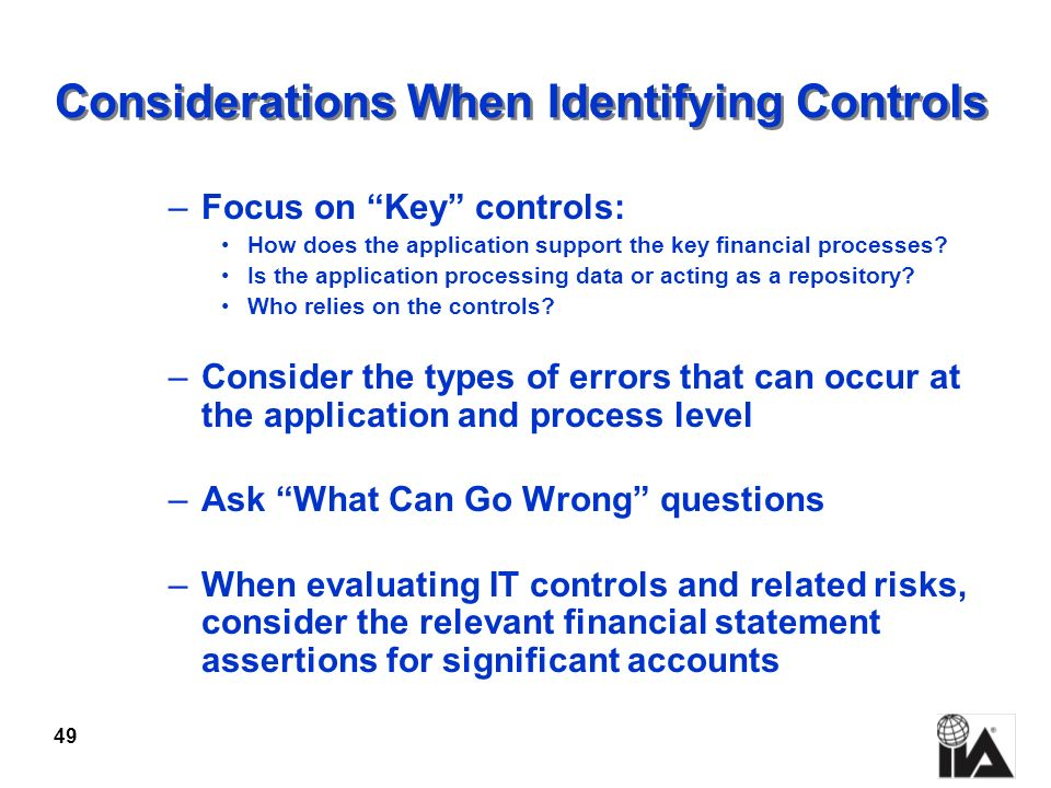 Considerations When Identifying Controls