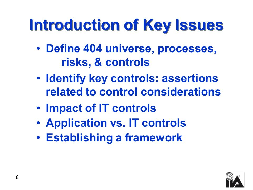 Introduction of Key Issues