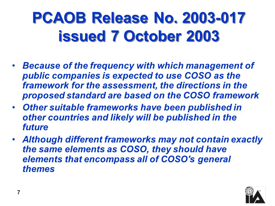 PCAOB Release No. 2003-017 issued 7 October 2003